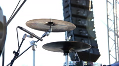 drummer plays on the street at the concert, white background - stock footage