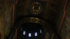 Ceiling of Saint Michael's Male Monastery Christmas Eve Kiev Dark Hall of - stock footage
