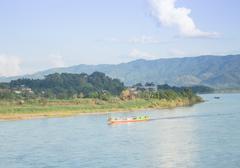 Shipping Lao boat on The Mae khong river Stock Photos