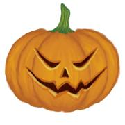 Pumpkin with scary face - stock illustration