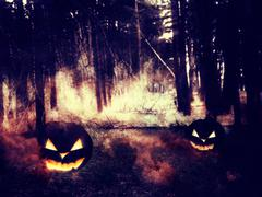Pumpkins in the Night Forest - stock illustration