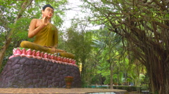 Preaching Buddha statue under a large tree Stock Footage