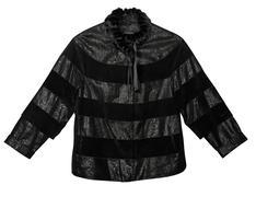 Black women's leather jacket - stock photo