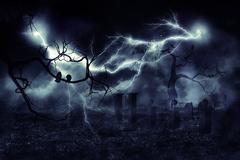 Storm over Field - stock illustration