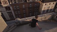 Slowmotion Rooftop Run Stock Footage
