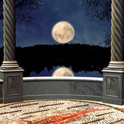 View on night from a balcony Stock Illustration