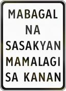 Road sign in the Philippines - Slow vehicles keep right Piirros