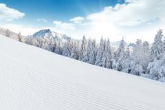 Winter Alpine snowy landscape Stock Photos