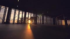 Slowmotion Flip Sunset Inside Bulding Stock Footage