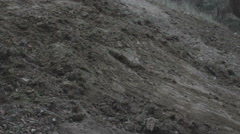 Bucket digging general plan carried out earthworks Stock Footage