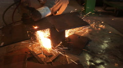 Stock Video Footage of Industrial worker cutting steel by using metal torch
