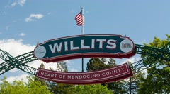 Willits Town Sign Stock Footage