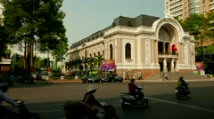 Ho Chi Minh City - Traffic in front of Saigon Opera House. 4K time lapse. Stock Footage