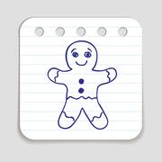 Doodle Gingerbread Man Icon - stock illustration