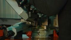 Industrial metal machining cutting process Stock Footage