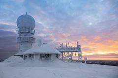 weather radar station on the top of the mountain - Finland, Luosto - stock photo
