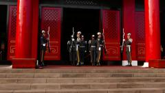 Honour guards slowly take rifle, salute and change places Stock Footage
