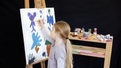 Painting kid black bg 4 Stock Footage