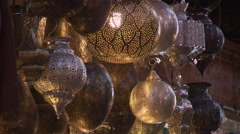 Oriental lamps in the bazar (souk) Stock Footage