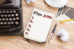Notebook with annual plan Stock Photos