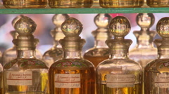 Oriental perfume bottles - stock footage