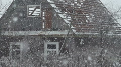 A house without a roof snowing Stock Footage