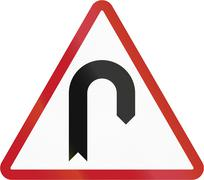 Road sign in the Philippines - Hairpin Bend - stock illustration