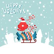 XMas card. Image birdies in a Santa hat with candies on sled - stock illustration