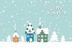 Stock Illustration of Xmas card. Illustration of three houses on a snowy background