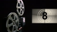 Old projector showing film. Universal film leader. Stock Footage