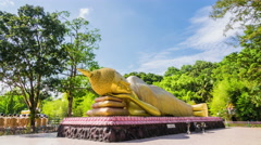 Golden Buddha statue nirvana Attractions in public religious - stock footage