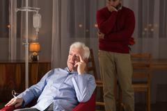 Stock Photo of Senior having home medical care