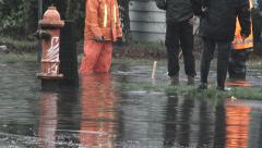 City Workers On Flooded Streets Stock Footage