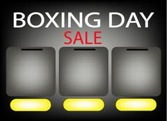 Stock Illustration of Three Blank Banner on Boxing Day Sale Background for Copy Space and Text Deco