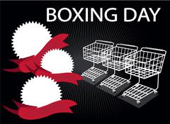 Three Shopping Carts and Three Round Label on Boxing Day Background with Copy - stock illustration