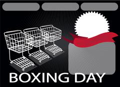 Three Shopping Carts and A Round Label on Boxing Day Background with Copy Spa - stock illustration