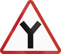 Road sign in the Philippines - Y Junction - stock illustration