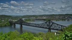 Time Lapse Shot of Train Bridge Looking back toward Rochester, PA Stock Footage