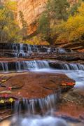Many layers of Zion Red Waterfalls - stock photo
