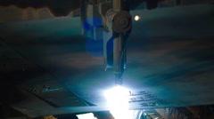 Industrial laser or plasma cutting metal sheet Stock Footage