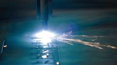Industrial laser or plasma cutting metal Stock Footage