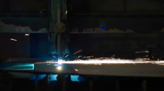 Industrial laser or plasma cutting steel sheet Stock Footage