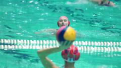 Women's water polo players warm up. Russia - Greece, November, 24, 2015 Stock Footage