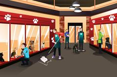 Stock Illustration of People Working in Animal Shelter