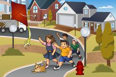 Kids Chasing a Lost Kite - stock illustration