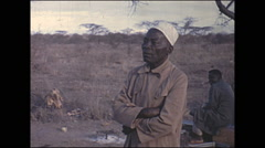 Vintage 16mm film, 1972, Kenya, tribesmen Stock Footage