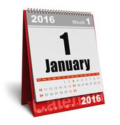 January 2016 calendar - stock illustration