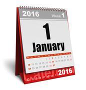 January 2016 calendar Stock Illustration
