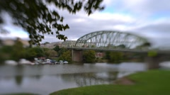 Time Lapse and Tilt Shift Shot of Traffic Going Across Bridgewater Bridge Stock Footage