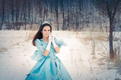 Beautiful Snow Queen in Winter Decor - stock photo